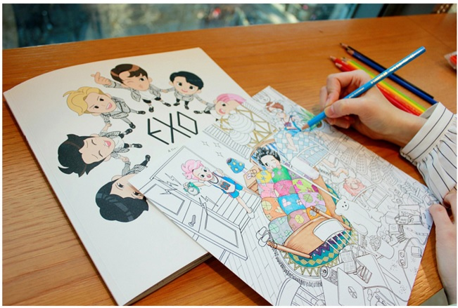 EXO A Day In Exoplanet Coloring Book KPOP Band N Faber Castel