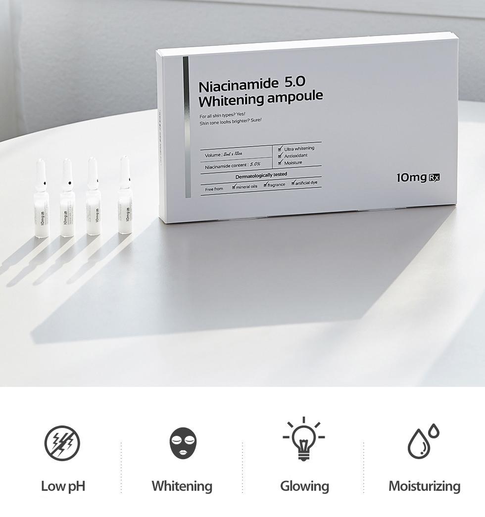 Kết quả hình ảnh cho Tinh Chất Niacinamide 5.0 Whitening Ampoule 10Mg Rx (2Ml X 10Ea)